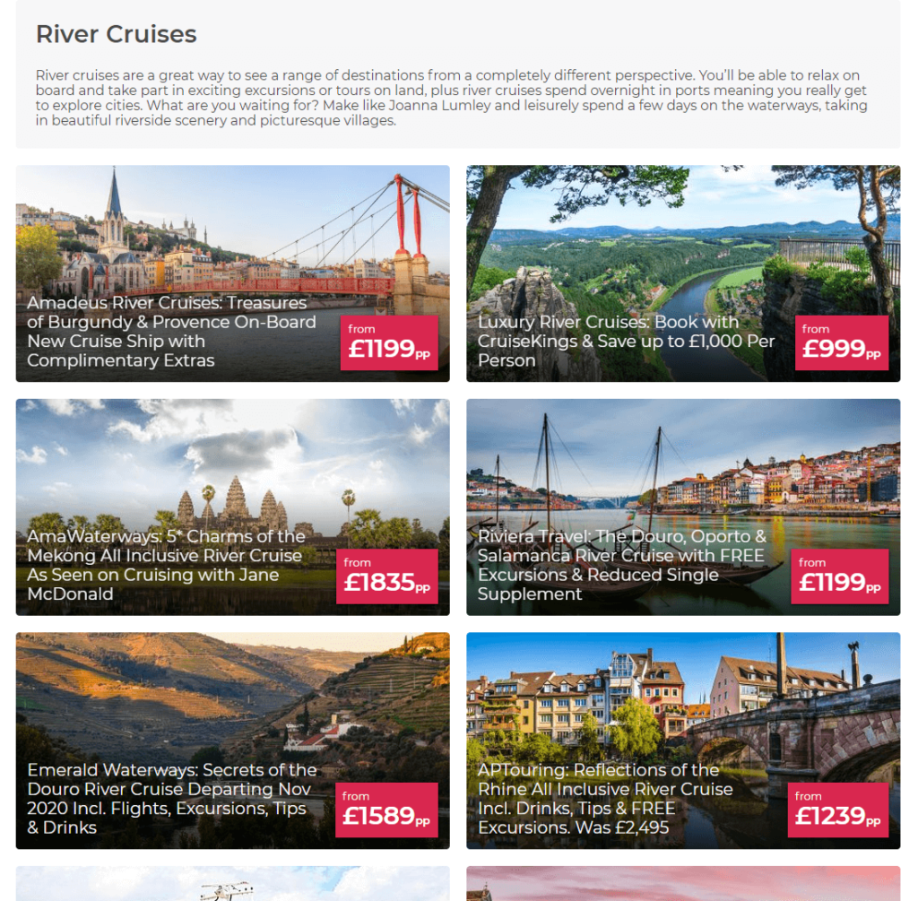Desktop view of the new river cruises deals collection